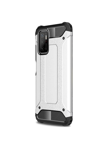 Microsonic Xiaomi Poco M3 Pro Kılıf Rugged Armor Gold Gümüş